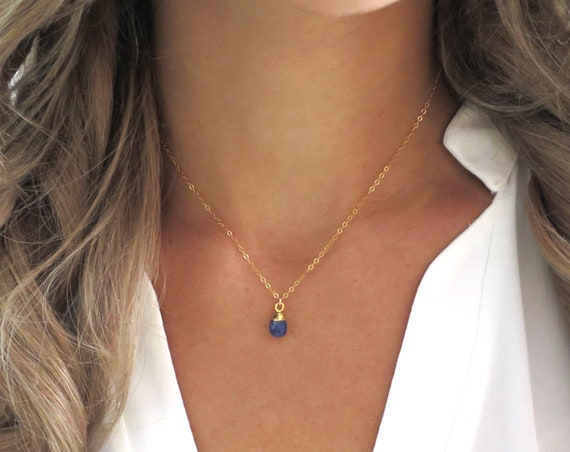 Dainty Sapphire Teardrop Necklace