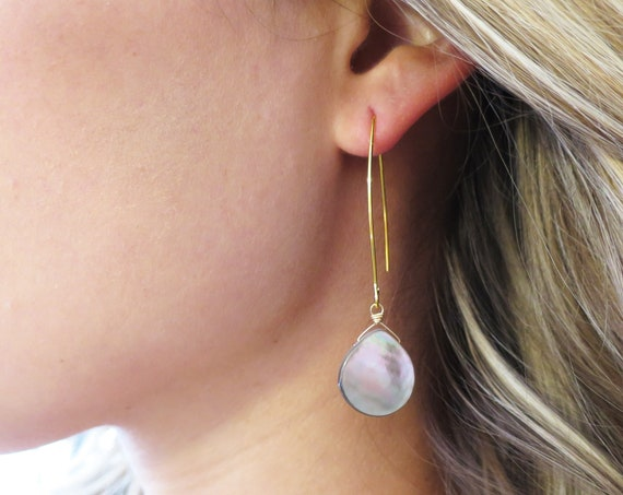 Long Gray Mother of Pearl Earrings