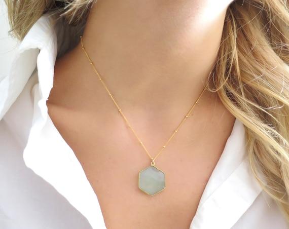 Blue Chalcedony Hexagon Necklace