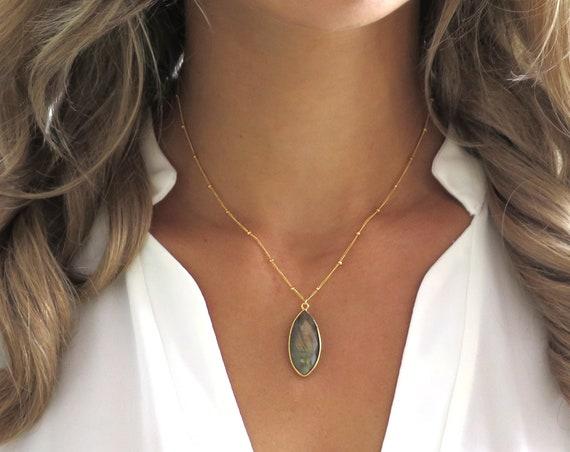 Marquise Labradorite Necklace