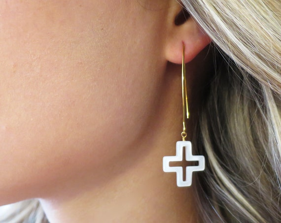 Mother of Pearl Cross Earrings