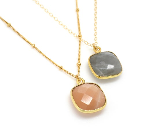 Peach Moonstone Necklace