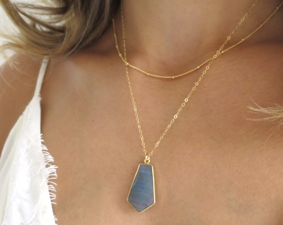 Gold Labradorite Pentagon Necklace