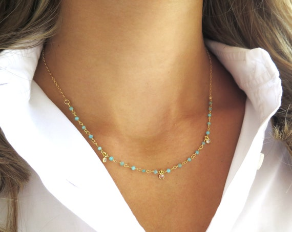 Dainty Chrysoprase Necklace with CZ