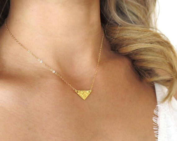 Hammered Gold Triangle Necklace