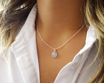 Rainbow Moonstone Pendant, Silver Moonstone Necklace, Silver Satellite Chain, Satellite Jewelry, Dainty Silver Necklace, Dew Drop
