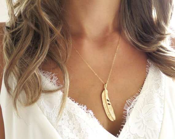 Large Gold Feather Necklace