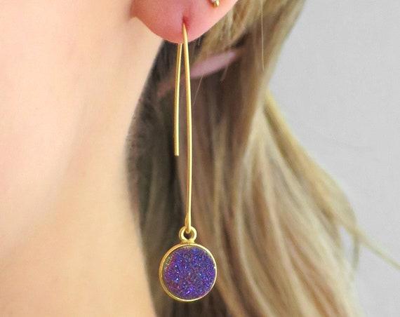 Long Purple Druzy Earrings