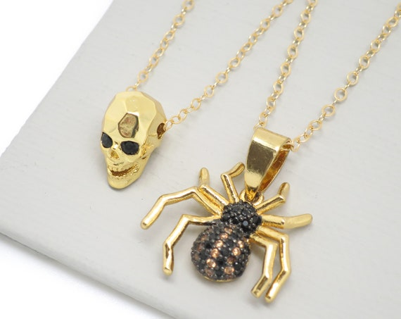 Skull & Spider Necklace