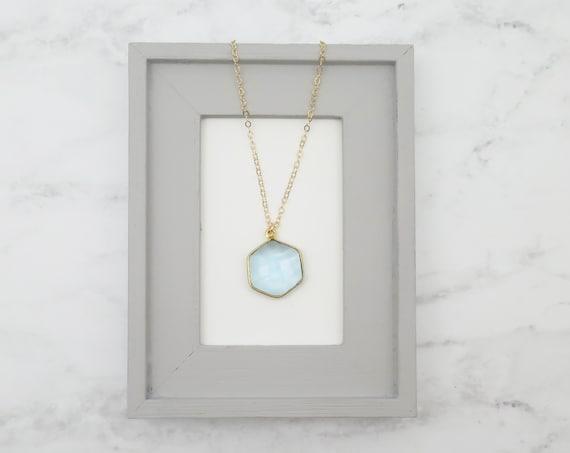 Aquamarine Hexagon Necklace