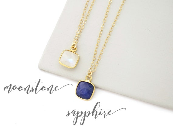 Small Moonstone or Sapphire Necklace