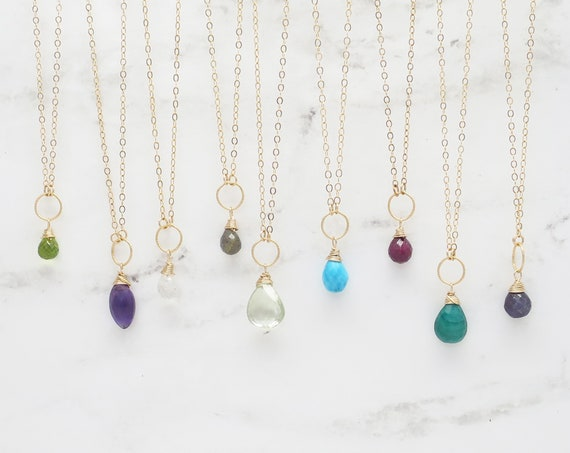 Candy Drop Gemstone Necklace