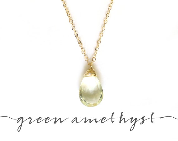 Dainty Green Amethyst Necklace