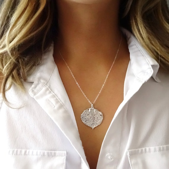 Sterling Silver Aspen Leaf Necklace