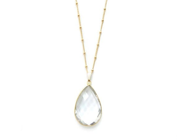 Clear Quartz Teardrop Pendant Necklace
