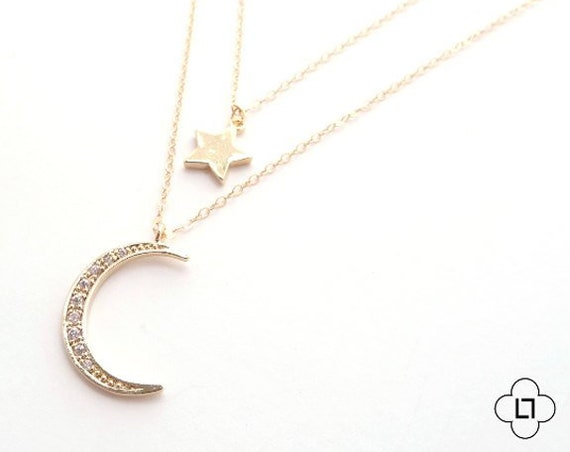 Pave Crescent Moon and Star Necklace