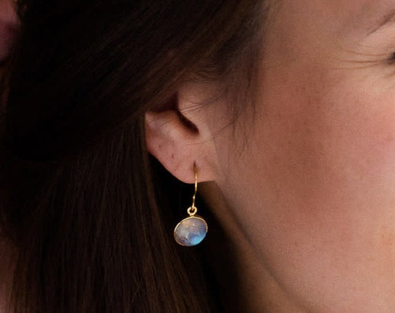 Tiny Gold Moonstone Earrings