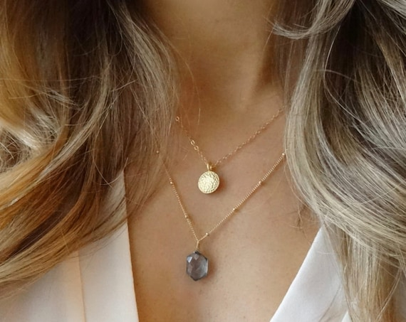 Gold Coin and Blue Quartz Layered Necklace
