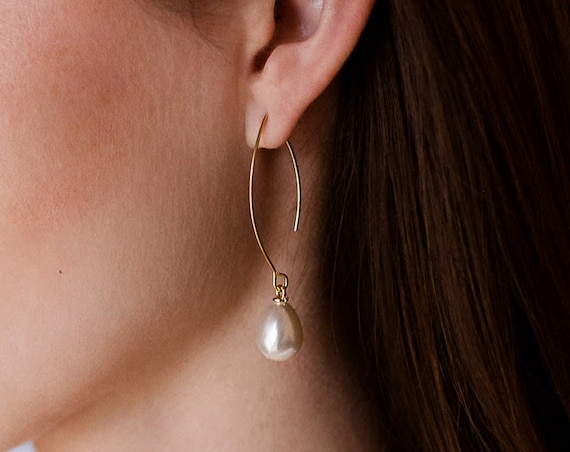 Long Pearl Earrings, Gold Pearl Earrings, Dainty Pearls, Pearl Jewelry, June Birthstone, Wedding Earrings, Wedding Jewelry