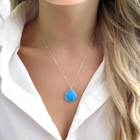 Silver Turquoise Teardrop Necklace