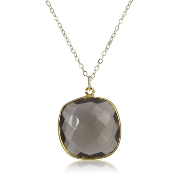 Smoky Topaz Pendant Necklace