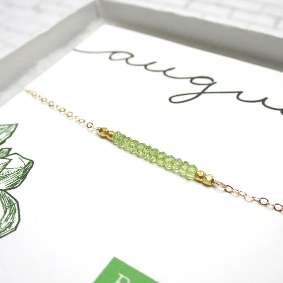 Peridot Bar Necklace