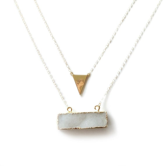 Gold Triangle and Druzy Bar Layered Necklace