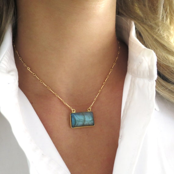 Gold Labradorite Rectangle Necklace on Bar Chain