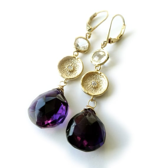 Gold Amethyst Dangle Earrings