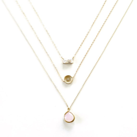 Pink Pendant + Gold Coin Diamond Layer Necklace