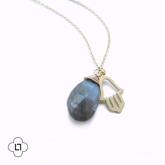 Labradorite Gold Hamsa Charm Necklace