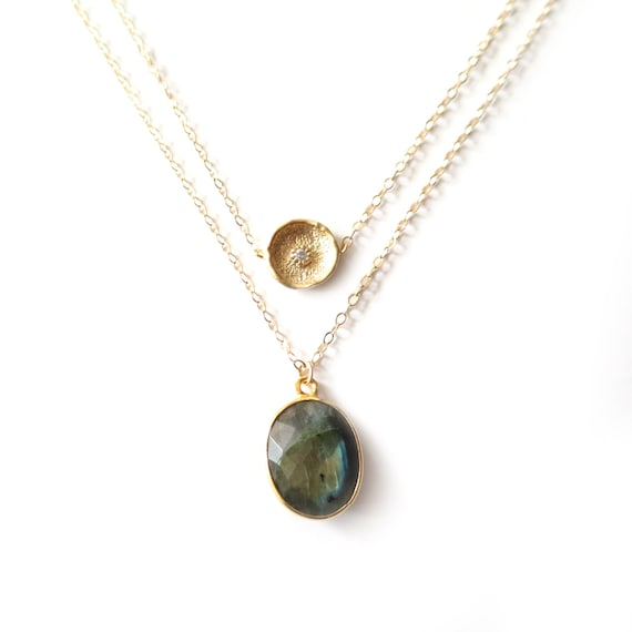 Gold Coin + Oval Labradorite Layer Necklace