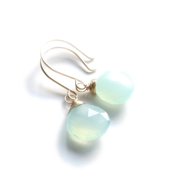 Mint Green Chalcedony Teardrop Earrings