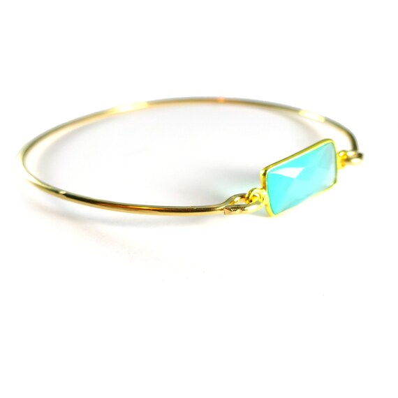 Aqua Chalcedony Gemstone Bangle