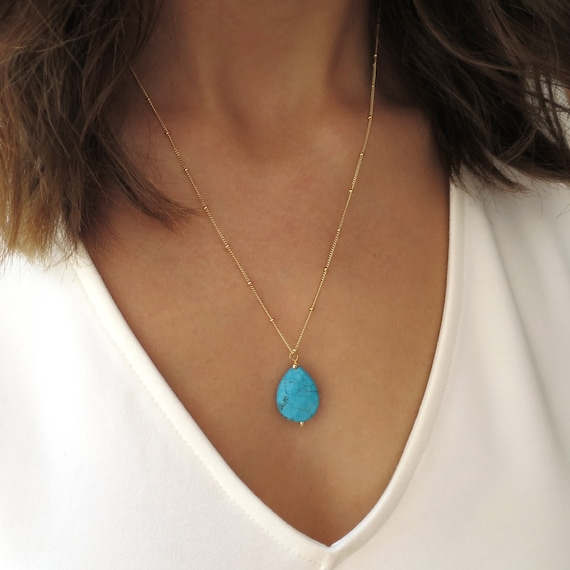 Gold Turquoise Teardrop Necklace
