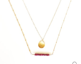Ruby Bar Necklace, Gold layer Necklace, Hammered Gold Coin, Tiny Ruby Necklace, Gold Layer Necklace, July Birthstone, delicate gold jewelry