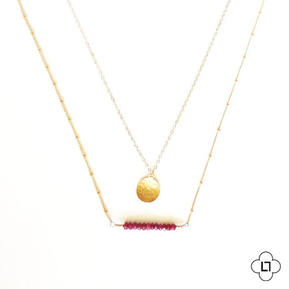 Genuine Ruby Bar + Hammered Gold Coin Layer Necklace
