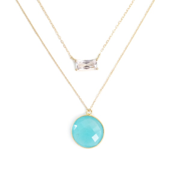 Emerald Cut Diamond + Round Blue Chalcedony Layer Necklace Set