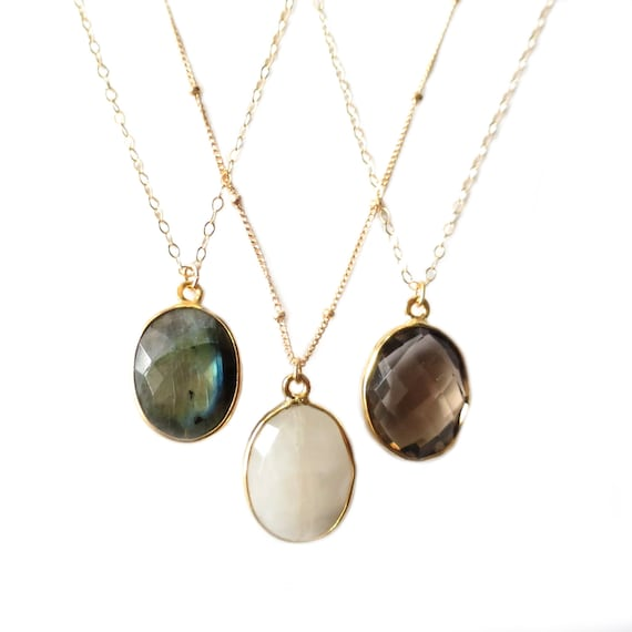 Round Gemstone Pendant Necklaces