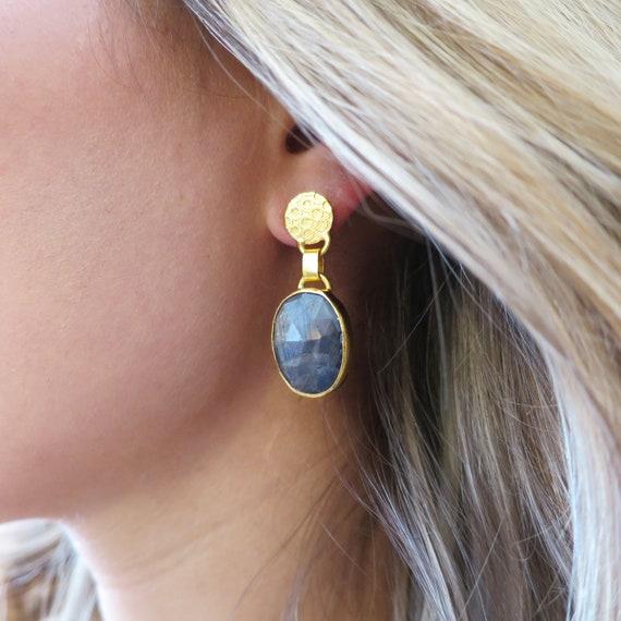 Raw Sapphire Earrings