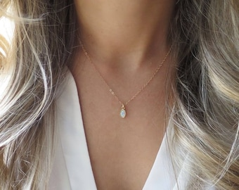 Tiny Opal Pendant, Gold Opal Necklace, Dainty Opal Necklace, Delicate Opal, Gold Pendant Necklace, Minimal Necklace, Bridesmaid Necklace