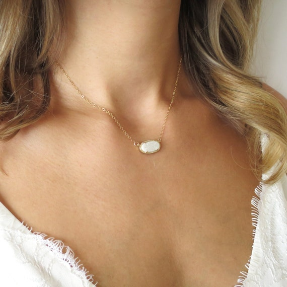White Druzy Oval Necklace