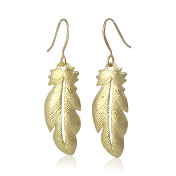 Boho Gold Feather Earrings