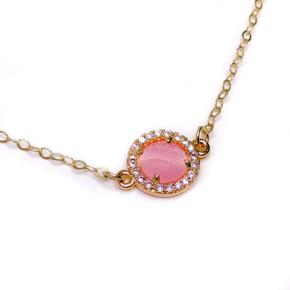 Diamond Rose Quartz Necklace