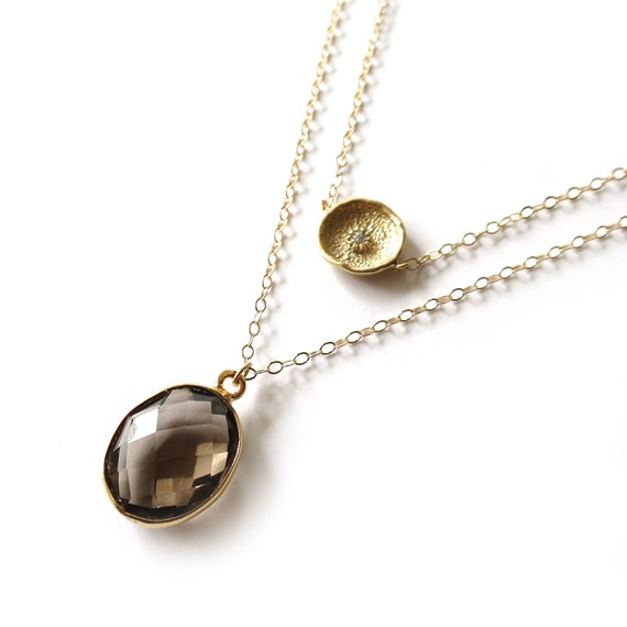 Gold Coin + Smoky Topaz Layer Necklace
