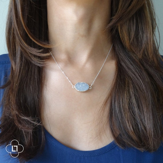 Sterling Silver Suspended Druzy Necklace