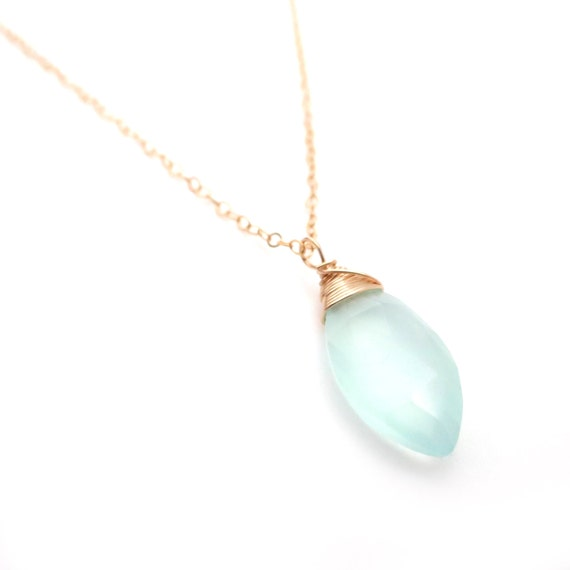 Light Blue Chalcedony Pendant Necklace