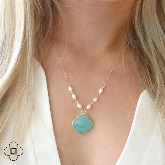 TIny Pearl and Chalcedony Clover Necklace