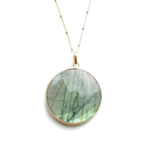 Large Round Labradorite Pendant Necklace