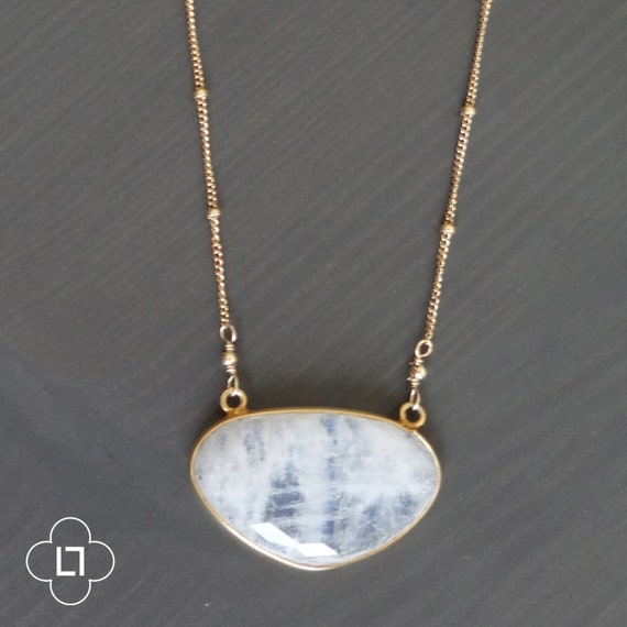 Large Moonstone Point Necklace